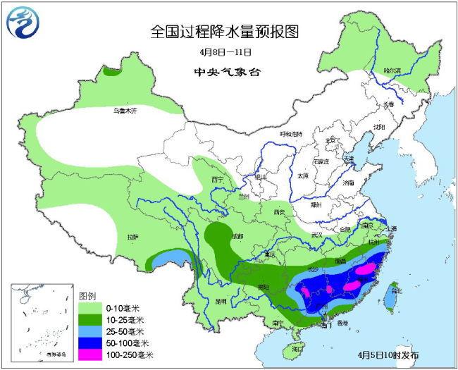 4月5日未来十天全国天气预报:江淮江南仍多降雨过程