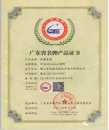 """海大百容黄颡鱼苗获""""广东省名牌产品""""称号"""