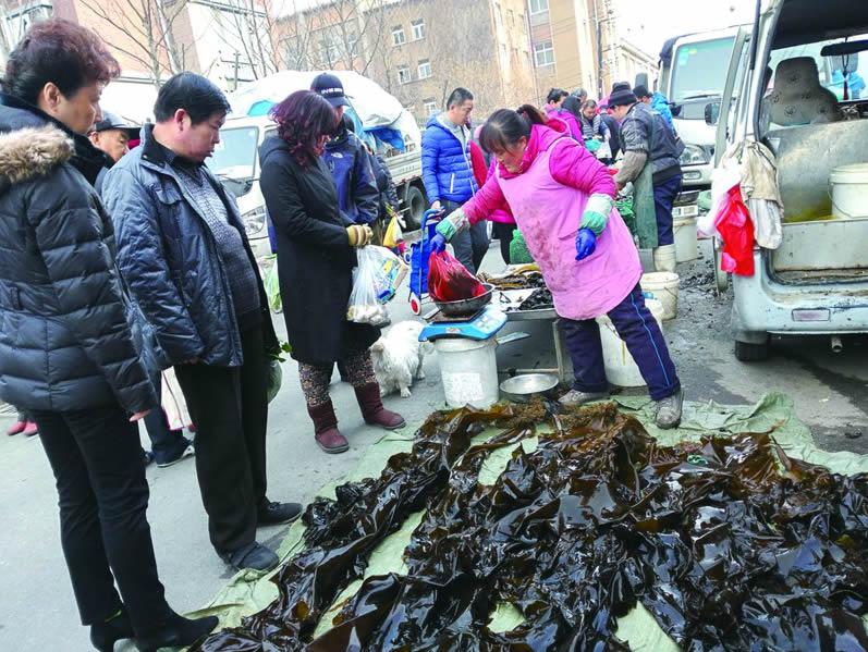 山东青岛市场日销海带十几吨 售价每斤仅两元