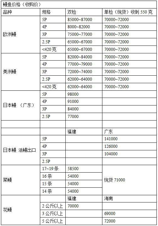 2015年12月29日广东福建菜鳗花鳗欧洲鳗日本鳗收购价格