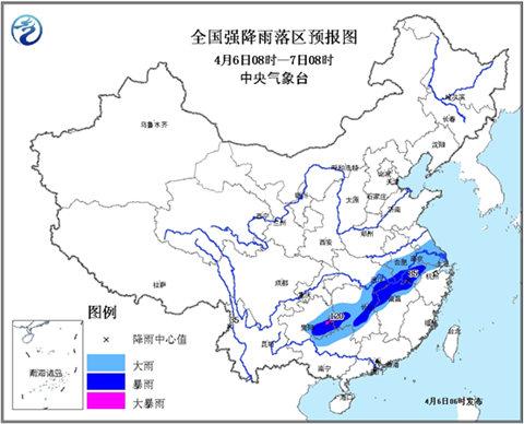 暴雨蓝色预警:安徽湖北等5省有暴雨